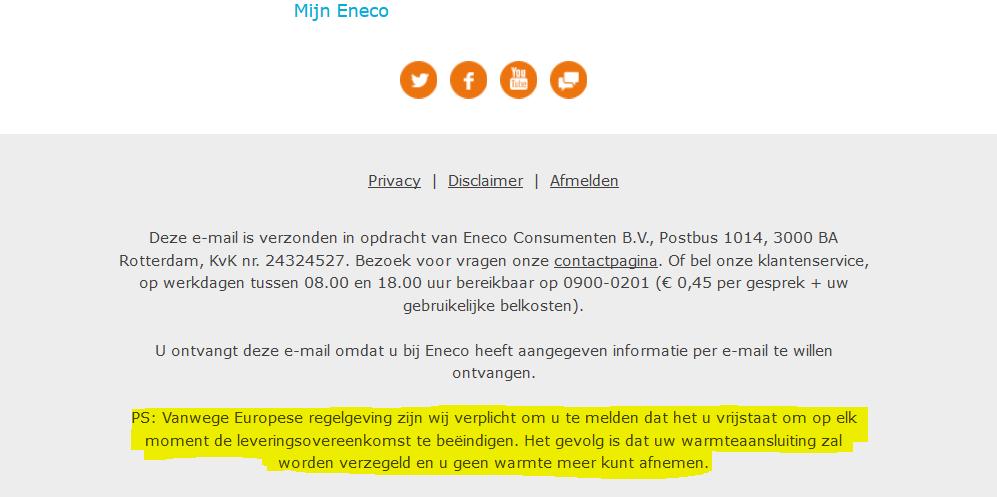 afsluiten stadsverwarming verzegelen Eneco Utrecht Nieuwegein verzegelen