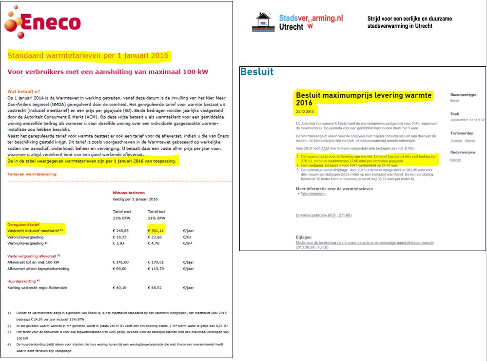 ACM Eneco fout stadsverwarming tarieven 2016 warmtewet