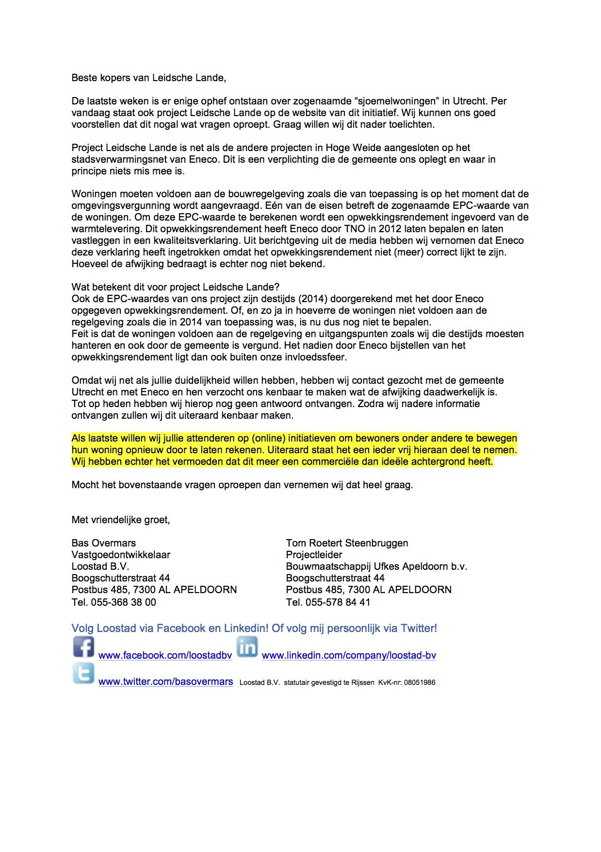 Nieuwsbrief Loostad Leidsche Lande 22-03-2016